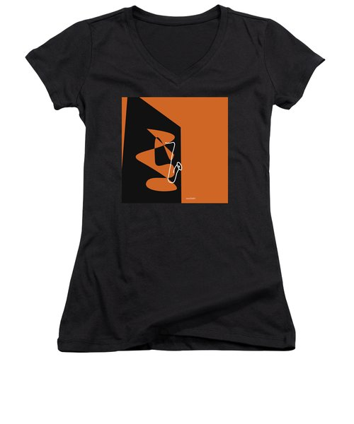 Women's V-Neck T-Shirt (Junior Cut) featuring the digital art Saxophone In Orange by Jazz DaBri
