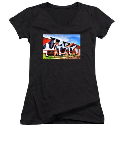 Say Cheese Women's V-Neck T-Shirt (Junior Cut) by Dale R Carlson