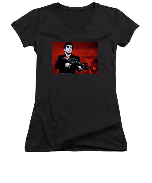 Say Hello To My Little Friend  Women's V-Neck (Athletic Fit)