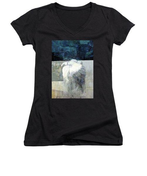 Saying Goodbye Women's V-Neck T-Shirt (Junior Cut) by Munir Alawi