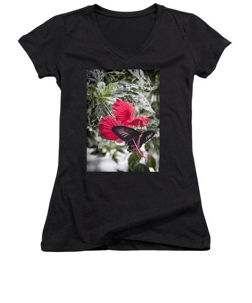 Scarlet Mormom Butterfly On Hibiscus Women's V-Neck T-Shirt (Junior Cut) by Shirley Mitchell