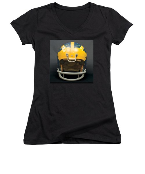 Women's V-Neck (Athletic Fit) featuring the photograph Scarred 1970s Wolverine Helmet by Michigan Helmet