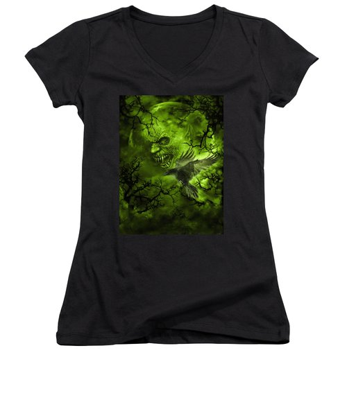 Scary Moon Women's V-Neck (Athletic Fit)
