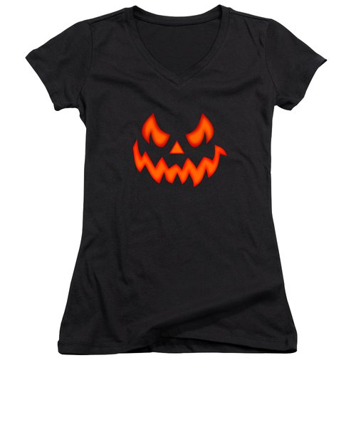 Scary Pumpkin Face Women's V-Neck (Athletic Fit)