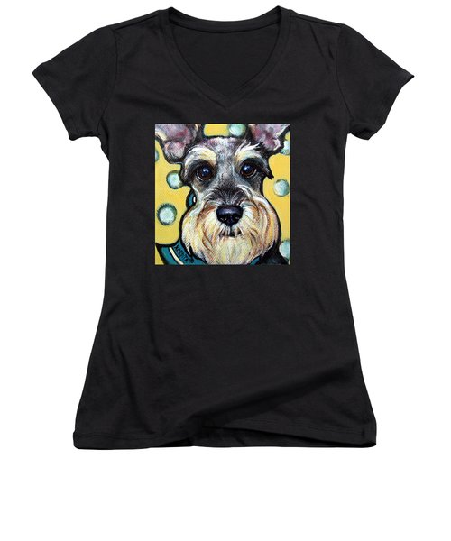 Schnauzer With Polkadots Women's V-Neck (Athletic Fit)