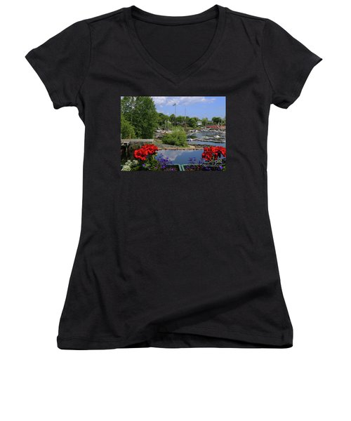 Schooners And Flowers, Camden, Maine Women's V-Neck (Athletic Fit)