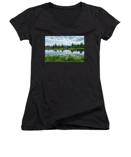 Women's V-Neck T-Shirt (Junior Cut) featuring the photograph Schwabacher's Landing by Dustin LeFevre