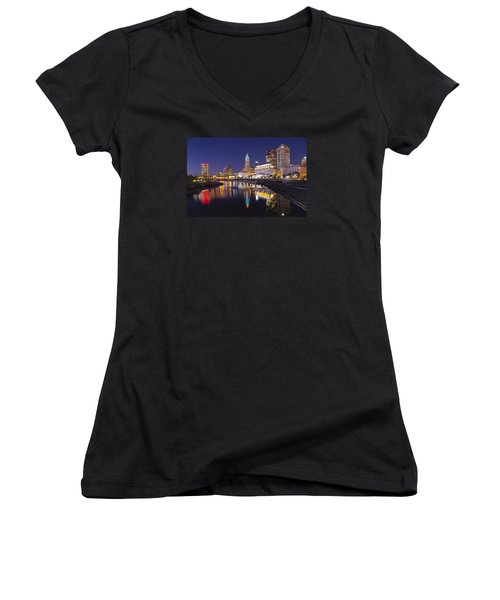 Women's V-Neck T-Shirt (Junior Cut) featuring the photograph  Scioto Reflections - Columbus by Alan Raasch