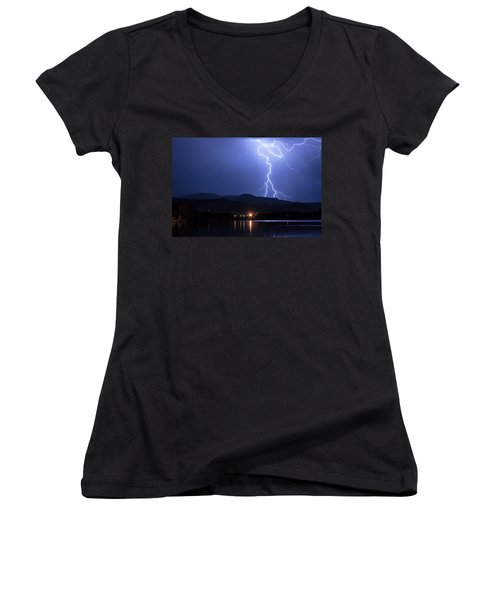 Women's V-Neck T-Shirt (Junior Cut) featuring the photograph Scribble In The Night by James BO Insogna