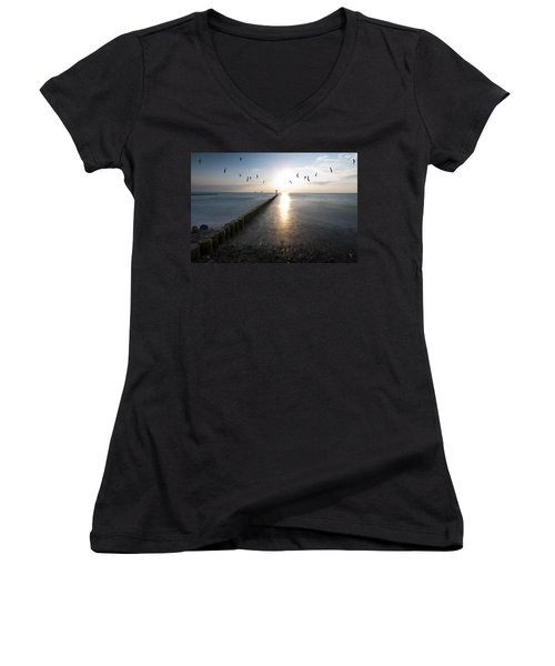 Sea Birds Sunset. Women's V-Neck T-Shirt