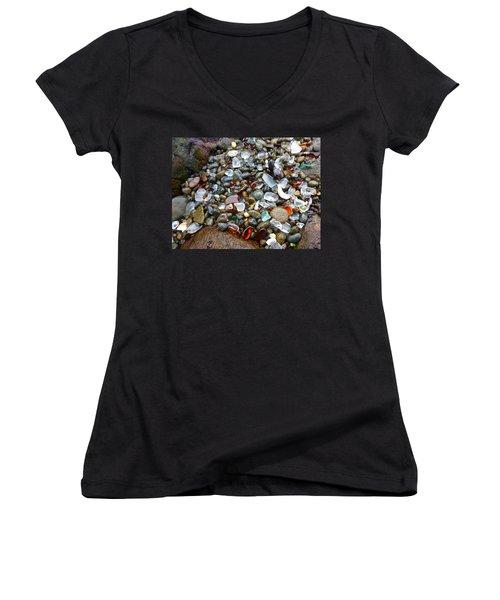 Sea Glass Gems Women's V-Neck T-Shirt