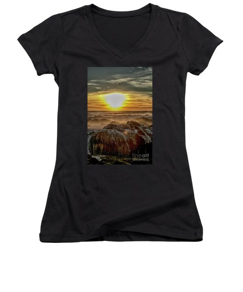 Sea Mist Sunset Women's V-Neck (Athletic Fit)