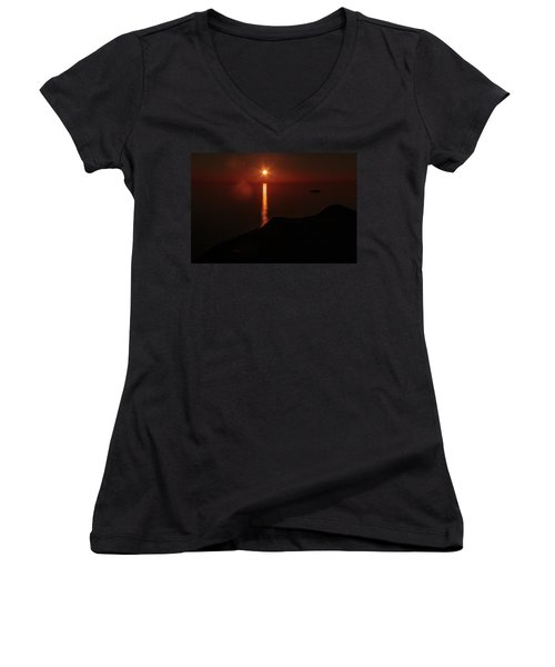 Sea, Mountains, Sunset, Sun Sinking Over The Horizon Women's V-Neck T-Shirt