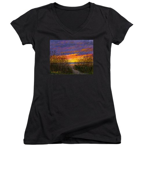 Sea Oat Sunrise # 2 Women's V-Neck T-Shirt (Junior Cut) by Kathleen McDermott