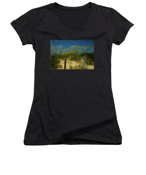 Women's V-Neck T-Shirt (Junior Cut) featuring the photograph Sea Oats And Sand Fence by John Harding