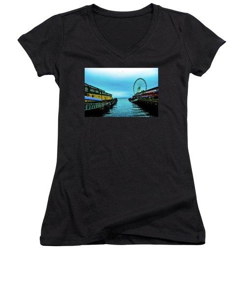 Sea Side, Seattle 2 Women's V-Neck (Athletic Fit)