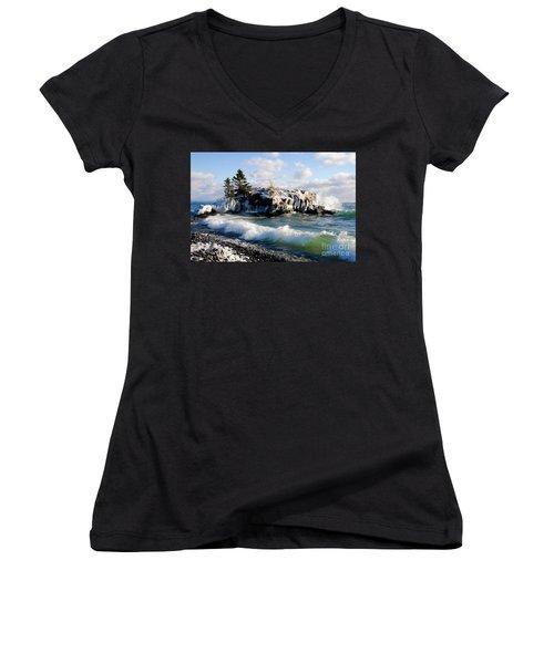 Sea Smoke At Hollow Rock Women's V-Neck T-Shirt (Junior Cut) by Sandra Updyke