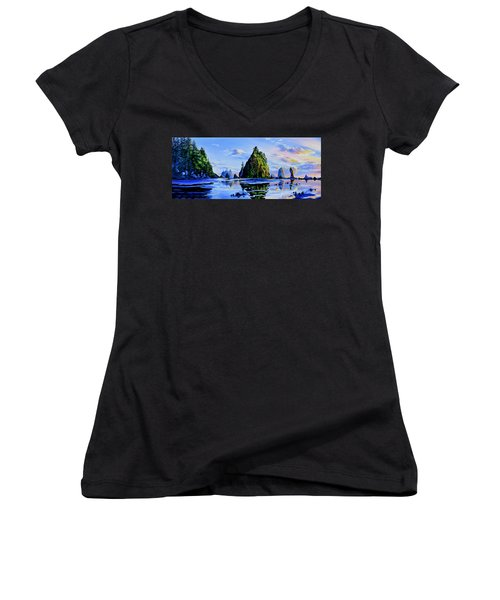Women's V-Neck (Athletic Fit) featuring the painting Sea Stack Serenity by Hanne Lore Koehler