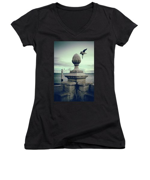 Women's V-Neck T-Shirt (Junior Cut) featuring the photograph Seagulls In Columns Dock by Carlos Caetano