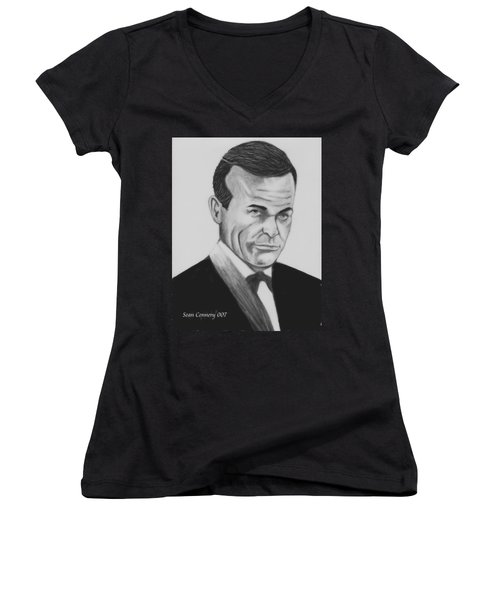 Sean Connery Pencil Drawing Digital Art Women's V-Neck (Athletic Fit)