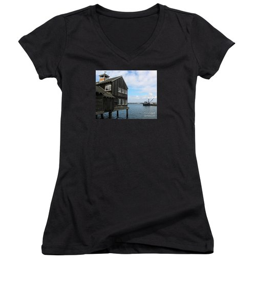 Seaport Village San Diego Women's V-Neck T-Shirt (Junior Cut) by Cheryl Del Toro