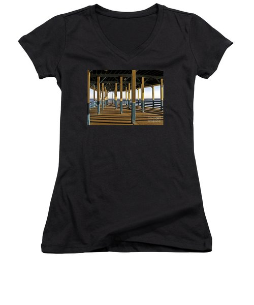 Seascape Walk On The Pier Women's V-Neck T-Shirt (Junior Cut) by Carol F Austin