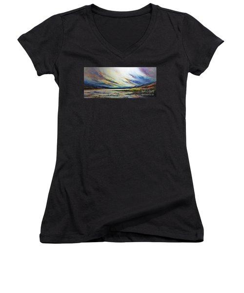 Women's V-Neck T-Shirt (Junior Cut) featuring the painting Seaside by AmaS Art