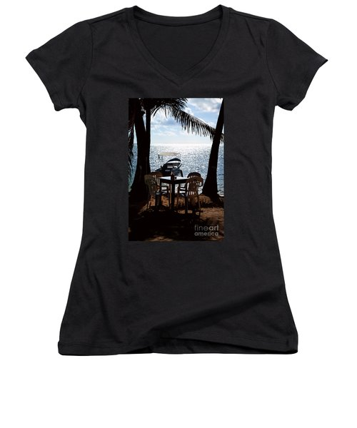 Women's V-Neck T-Shirt (Junior Cut) featuring the photograph Seaside Dining by Lawrence Burry