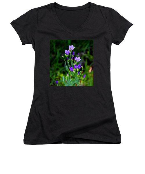 Seaside Gentian Wildflower  Women's V-Neck