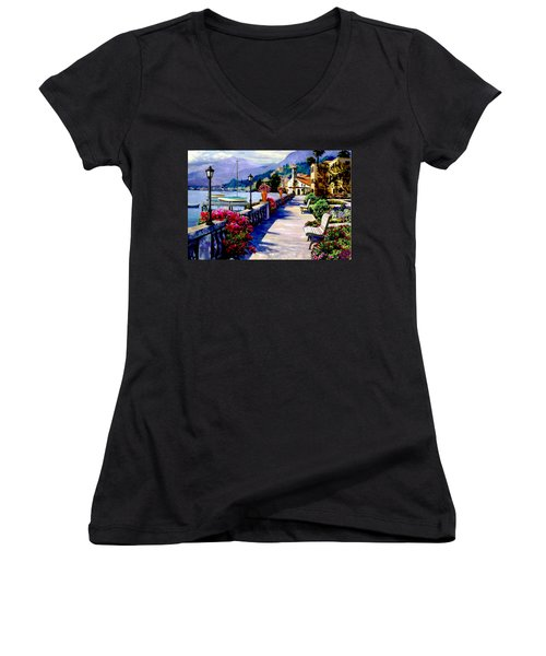 Seaside Pathway Women's V-Neck T-Shirt (Junior Cut) by Ron Chambers