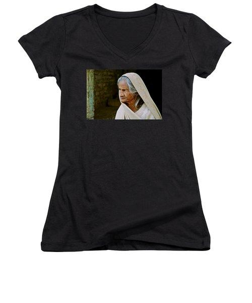 Seasoned Elegance Women's V-Neck T-Shirt (Junior Cut) by Valerie Rosen