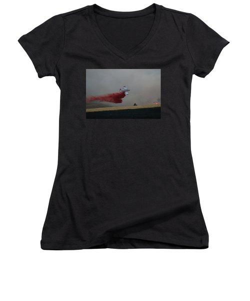 Seat Drops On Indian Canyon Fire Women's V-Neck (Athletic Fit)