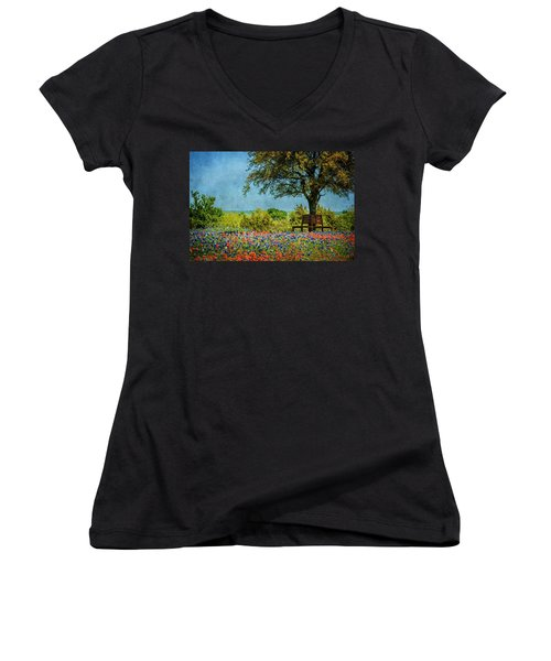 Women's V-Neck T-Shirt (Junior Cut) featuring the photograph Seating For Two by Ken Smith
