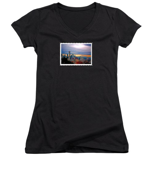 Seattle At Sunset Women's V-Neck T-Shirt (Junior Cut)