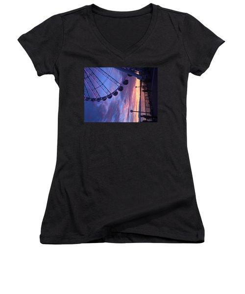 Seattle Ferris Wheel Women's V-Neck T-Shirt