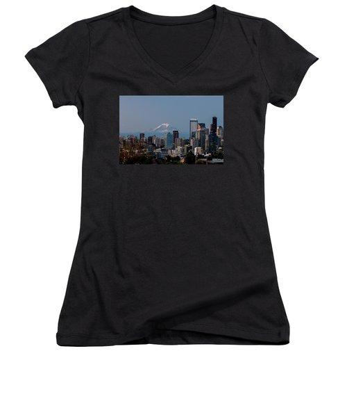Women's V-Neck T-Shirt (Junior Cut) featuring the photograph Seattle-mt. Rainier In The Morning Light .1 by E Faithe Lester