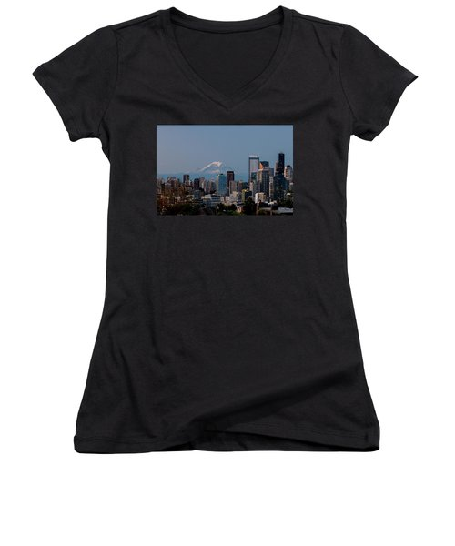 Seattle-mt. Rainier In The Morning Light .1 Women's V-Neck T-Shirt