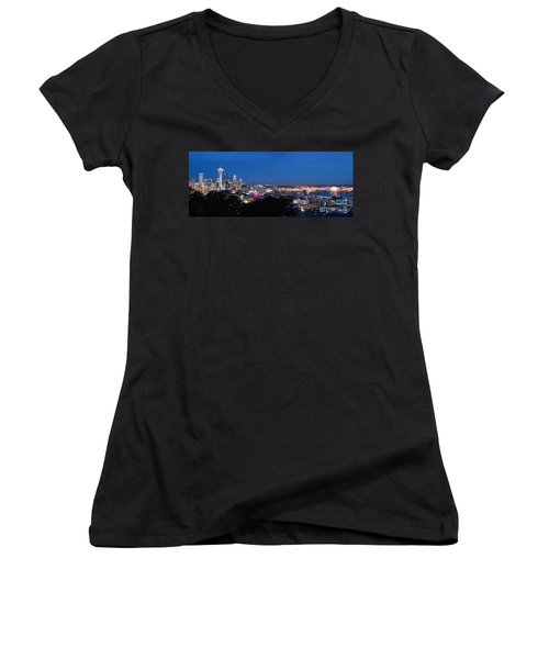 Seattle Panorama At Twilight Women's V-Neck