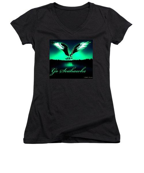 Seattle Seahawks Women's V-Neck T-Shirt (Junior Cut) by Eddie Eastwood