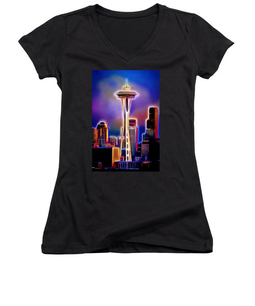 Women's V-Neck T-Shirt (Junior Cut) featuring the mixed media Seattle Space Needle 1 by Aaron Berg