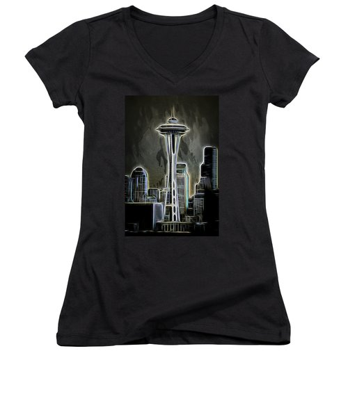 Women's V-Neck T-Shirt (Junior Cut) featuring the mixed media Seattle Space Needle 2 by Aaron Berg
