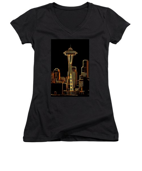 Women's V-Neck T-Shirt (Junior Cut) featuring the mixed media Seattle Space Needle 3 by Aaron Berg