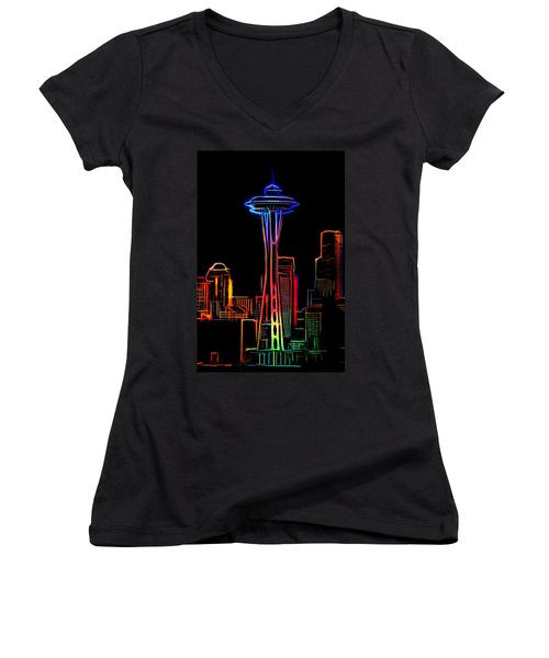 Women's V-Neck T-Shirt (Junior Cut) featuring the mixed media Seattle Space Needle 4 by Aaron Berg