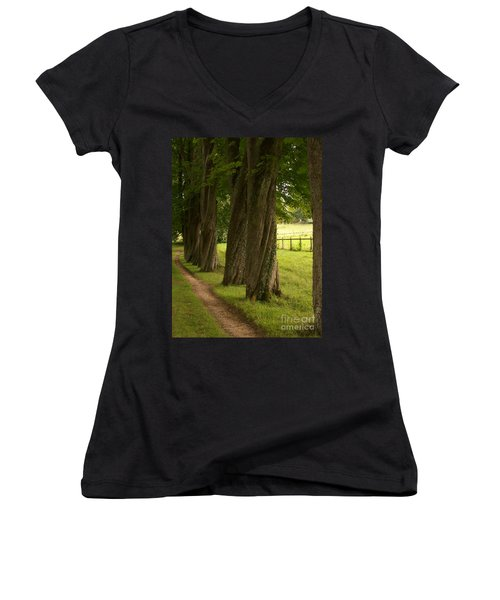 Women's V-Neck T-Shirt (Junior Cut) featuring the photograph Secret Path by Mary Mikawoz