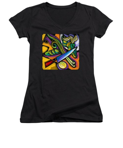 Tasty Salad Women's V-Neck T-Shirt (Junior Cut) by Leon Zernitsky