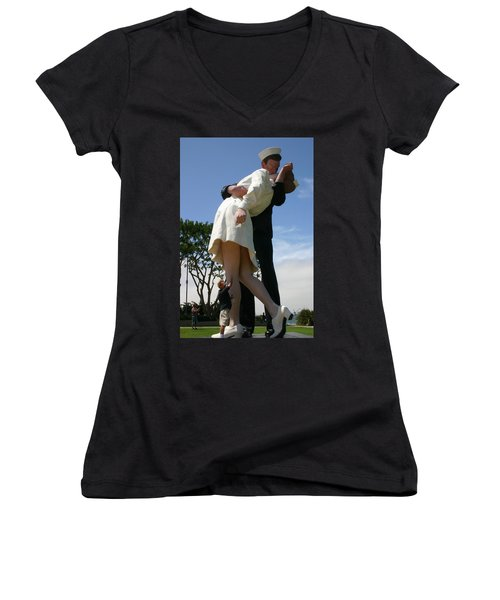 Women's V-Neck T-Shirt (Junior Cut) featuring the photograph Seeeeport Village San Diego by Marie Neder