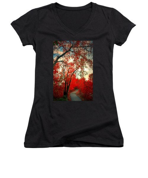 Women's V-Neck T-Shirt (Junior Cut) featuring the photograph Seeing Red 2 by Tara Turner