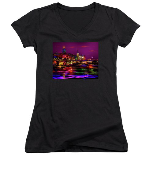 Seine, Paris Women's V-Neck T-Shirt (Junior Cut) by DC Langer