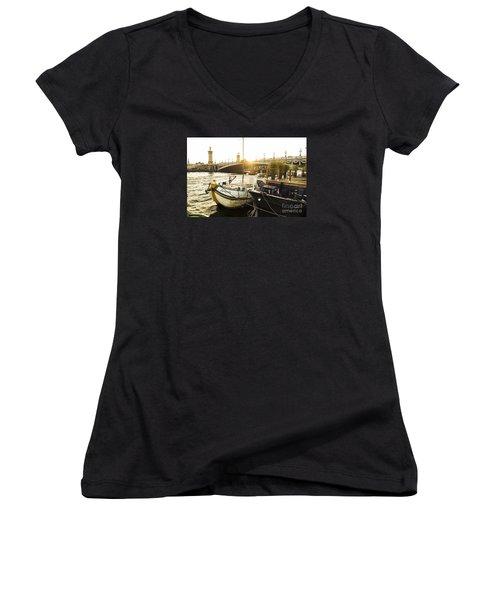 Seine River With Barges And Boats, Pont De Alexandre Bridge Behind, Paris France. Women's V-Neck T-Shirt (Junior Cut) by Perry Van Munster