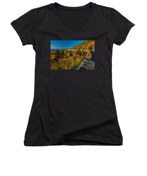 Seize The Day At Linn Cove Viaduct Autumn Women's V-Neck